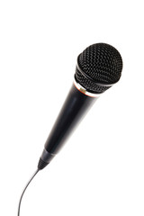 Stylish microphone on white background