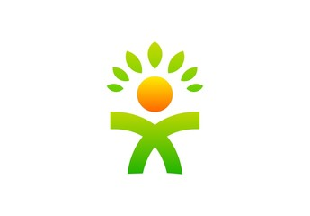 llness people logo health fitness leaf natural design