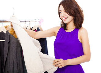 Happy  smiling asian Woman shopping clothes