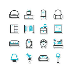 Set of icons - a home interior, drawing room.