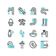 Set of icons - a bathroom equipment, repair