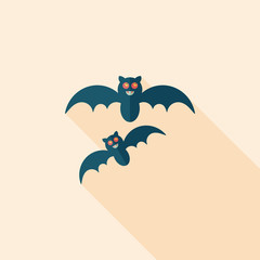 Halloween bat flat icon with long shadow,eps10
