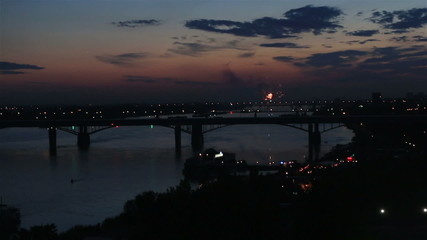 Night fireworks on the river Ob in Novosibirsk. Russia.