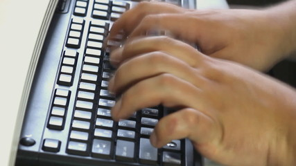 Typing on the laptop keyboard