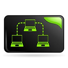 intranet sur bouton web rectangle vert