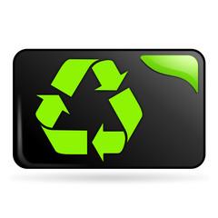 recyclable symbole sur bouton web rectangle vert