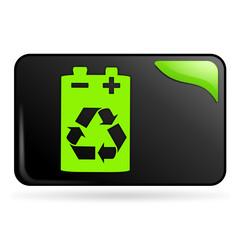 recyclage des piles sur bouton web rectangle vert