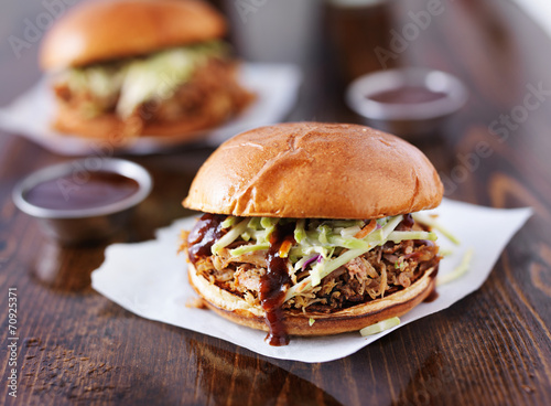 Foto op Aluminium Snack two pulled pork barbecue sandwiches