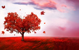 Autumn landscape with heart shape tree