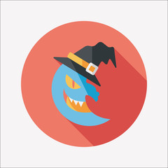 Halloween moon flat icon with long shadow,eps10