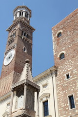 Italy, Veneto, Verona, Lamperti Tower and Palazzo della Ragione