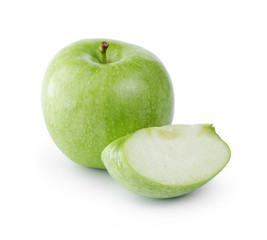 ripe fresh green apple with section