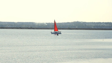 Sailing yacht on the sea at sunny weather