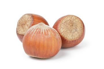 three whole hazelnuts