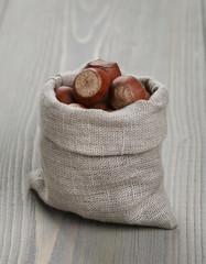 sack bag full of hazelnuts