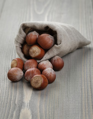 organic hazelnuts poured out of the pouch