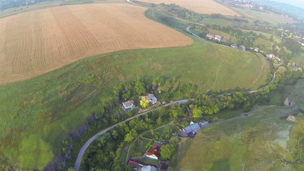 Landscape with  and  yellow field. Aerial
