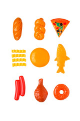 Top view of colorful plastic food isolated on white background