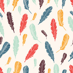 Beautiful feathers seamless background