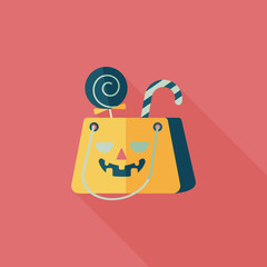 Halloween shopping bag flat icon with long shadow,eps10