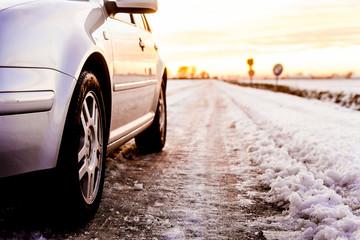 Car on a snowy street