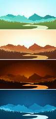 mountain scenery in various color represented various time
