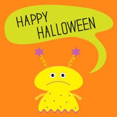 Cute yellow monster with speech text bubble Halloween card Flat