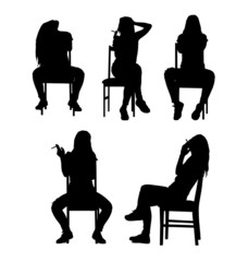 Sitting and smoking woman silhouette set