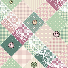 Diagonal patchwork pattern with lace.