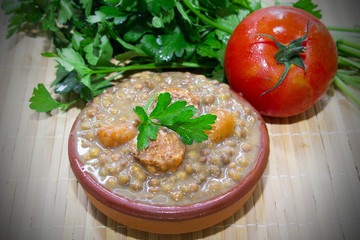delicious lentils in the table
