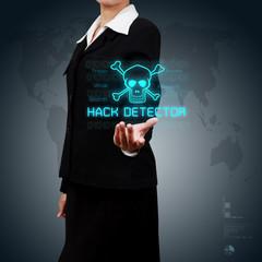 Businessman showing concept of online business security on virtu