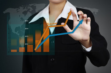 Businessman showing a business growth on a graph on virtual scre