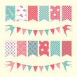 Bunting flags. Scrapbook design elements.