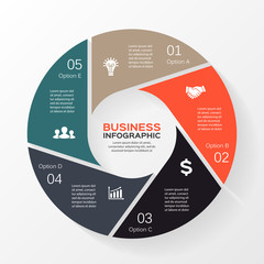 Circle infographic, diagram, presentation 5 options