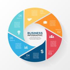 Circle infographic, diagram, presentation 6 options