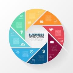 Circle infographic, diagram, presentation 8 options