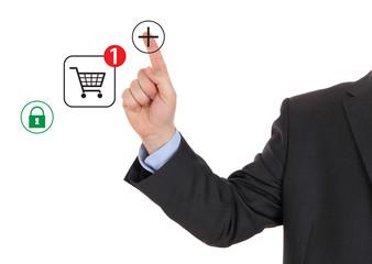 Hand pushing virtual symbol of online shopping
