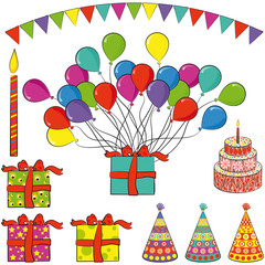 Presents, balloons, candle, cake, hats, flags