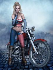 Dziewczyna w amerykańskim stroju stojąca przy motorze