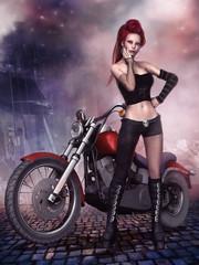 Młoda dziewczyna z czerwonym motorem