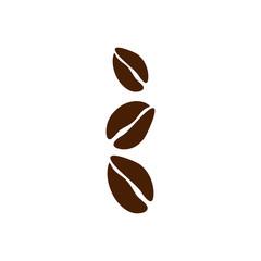 Three grey coffee beans as logo
