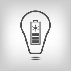 Bulb with solar battery as eco energy symbol