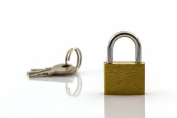 key and lock on white background.