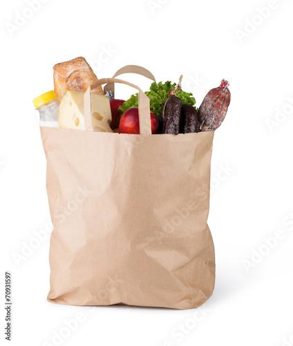 Canvas Keuken Paper bag with food