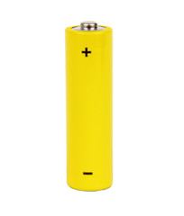 yellow small battery with positive and negative signs