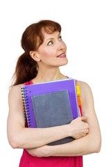 Woman holding her school notebooks