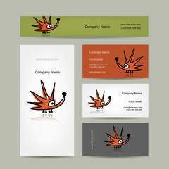 Business cards design with funny hedgehog