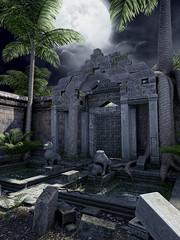 Orientalna świątynia z palmami na tle księżyca
