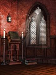 Kaplica z oknem, księgami i świecami