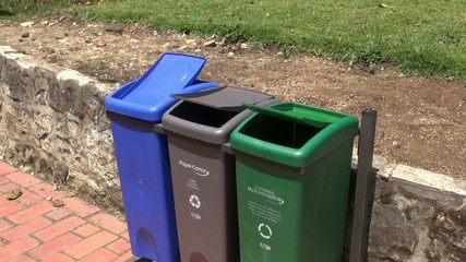 Windy, Trash Cans, Garbage, Recycling